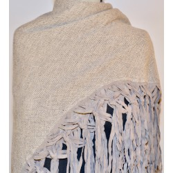 Shawl Leather Fringes: 100% Wool