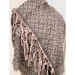 Shawl: Wool & Leather Fringes